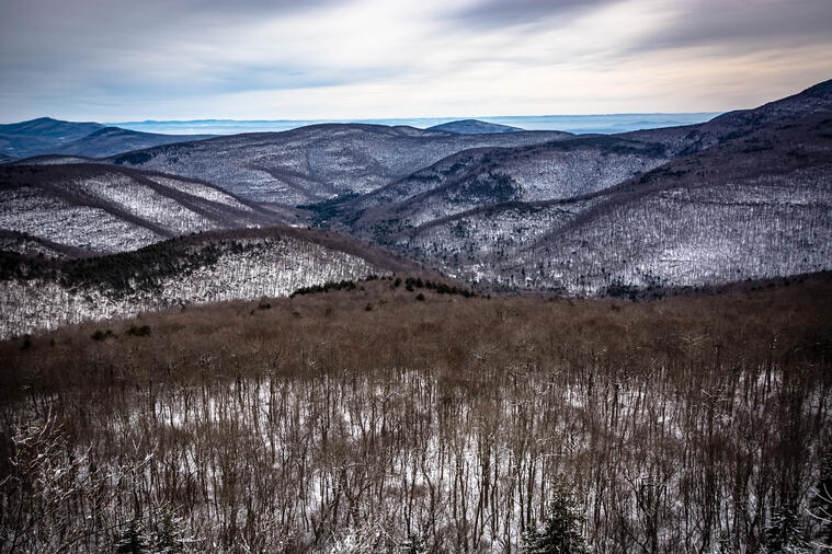 Aerial view of winter in the Catskill Mountains