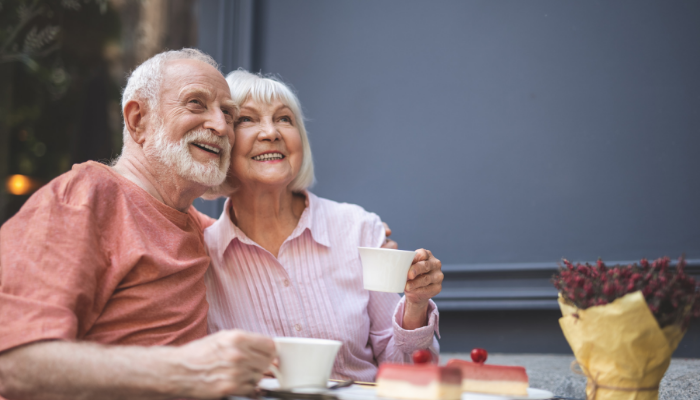 Senior couple enjoys coffee together